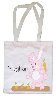 Mama to 4 blessings our homeschool blog a very veggie easter personalized easter egg hunt tote bag exclusive design with a pink bunny makes a negle Choice Image