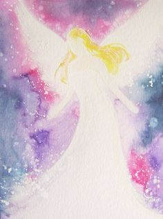 """Angel Watercolor painting : """"Guardian angel"""" ,  modern angel art, angel purple and lilac, abstract painting,original artists art"""