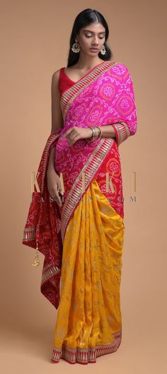 Sun Yellow And Magenta Half And Half Saree With Weaved Floral Jaal And Bandhani Print Online - Kalki Fashion Bandhani Saree, Silk Sarees, Sari, Ethnic Sarees, Indian Sarees, Indian Dresses, Indian Outfits, Saree Look, Saree Wedding