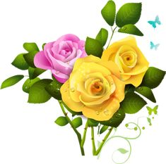 Yellow and Pink Rose Bouquet PNG Clipart