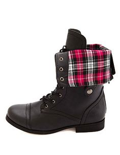 Plaid-Lined Fold-Over Combat Boots: Charlotte Russe