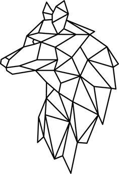 Geometric Drawing, Geometric Shapes, Geometric Animal, Geometric Wolf Tattoo, String Art, Animal Drawings, Easy Drawings, Line Art, Embroidery Patterns
