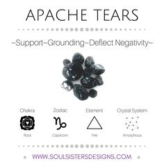 Soul Sisters Designs Free resources with metaphysical healing properties of Apache Tears, including Zodiac, Element, Chakra and Crystal Lattice/System Crystal Magic, Healing Crystal Jewelry, Crystal Healing Stones, Crystal Grid, Crystals Minerals, Crystals And Gemstones, Stones And Crystals, Apache Tears Stones, Zodiac Elements