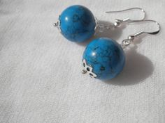 Blue Turquoise Silver Earrings from juta ehted - my jewelry shop by DaWanda.com