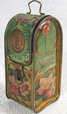 Edwardian perfume water Art Nouveau embossed litho tin