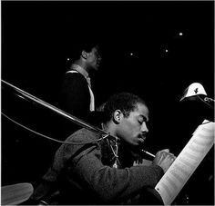 Eric Dolphy and Andrew Hill, Blue Note recording session for Andrew Hill's 'Point of Departure' March 1964 by Francis Wolff Eric Dolphy, J Words, Francis Wolff, Bass Clarinet, Saxophone, Charles Mingus, Blues, Cool Jazz, All That Jazz