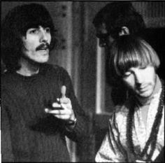 """While in London as the Beatles' guests  during Sgt. Pepper, Peter Tork sits in on George Harrison's solo project """"Wonderwall."""""""