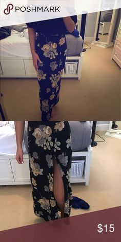 Floral maxi skirt satin silky material Super cute and comfy and light! Worn twice. Got at a boutique in LA Skirts Maxi