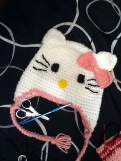Girls Crochet Hello Kitty Hat, Hello Kitty Hat for Baby, Toddler, Kids,Teens and Adult, Hand Crocheted Hello Kitty Hat on Etsy, $20.00