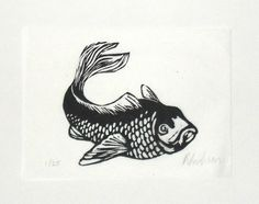 Fish - linocut print - Rowanne Anderson, U.K.