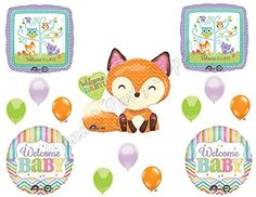 WELCOME BABY Woodland Friends Shower Balloons Decoration Supplies Fox Chevron, http://www.amazon.com/dp/B00VU67VFU/ref=cm_sw_r_pi_awdm_vn4Jvb1719Y5B