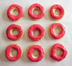 Vanilla Doughnuts with Raspberry Glaze