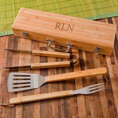 11th anniversary gift idea Personalized Wooden BBQ Set For Your Man from Top Anniversary