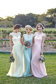 Cheap Bridesmaid Dresses - Discount Sleeves Chiffon Floor Length Bridesmaid Dresses 2015 Lace Online with $100.53/Piece | DHgate.com