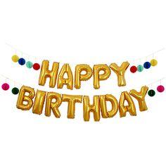 Large Happy Birthday Balloon Banner by Meri by PopUpPartiesShop