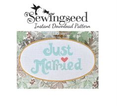 INSTANT DOWNLOAD Just Married Wedding Cross Stitch Pattern