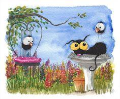 Original watercolor painting whimsical Stressie Cat bird crow garden spring time #IllustrationArt