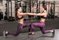 Try this partner workout Plyo Leg Switch exercise, demonstrated by the WWE's Bella Twins
