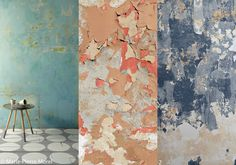 Old-style patinated effect walls: trend, worn and weathered walls - Elle Décoration Stucco Texture, Stone Texture, Ombre Paint, Stucco Walls, Painted Doors, Wabi Sabi, Elle Decor, Wall Wallpaper, Painting Techniques