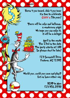 Dr Seuss Birthday Party Invitations Baby Shower By BellasnFellas 850 Ideas