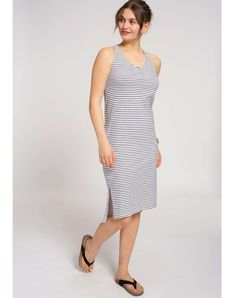 Stripes Sleeveless Jerseykleid | Kleider & Röcke | Bekleidung | Frauen | muso koroni Dress Code, Jersey Casual, Summer Dresses For Women, Dresses For Work, Sustainable Fabrics, Summer Sale, Navy And White, Organic Cotton, Stripes