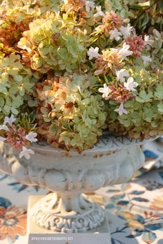 Summer to Fall Transitional Table with Limelight Hydrangea Centerpiece   homeiswheretheboatis.net #tablescape