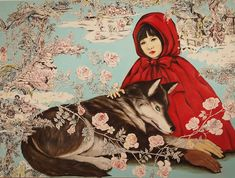 wolf lithography black line ink little red riding hood - Google Search