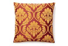 Damask 20x20 Velvet Pillow, Orange on OneKingsLane.com