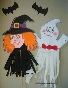 Pronti per Halloween ?  Sono arrivati le streghe  e i fantasmiiiiiiiiiii              Facili facili da realizzare.... basta solo far color...