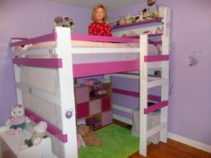 Loft bed ideas, except not pink wood, and more so like a teenage style