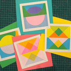"""Emma Fisher on Instagram: """"These little mini prints have been such a hit, I'll be launching a second edition with a updated design very soon. #risoprint #risograph…"""" Zine Printing, Screen Printing, Craft Stick Crafts, Craft Sticks, Girl Scout Crafts, Color Shapes, Crafts For Girls, Graphic Patterns, Visual Communication"""