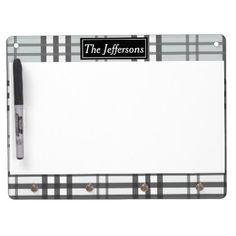 Grayscale Tartan Pattern Dry Erase Board With Keychain Holder - pattern sample design template diy cyo customize