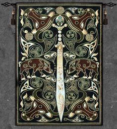 """""""Celtic Warrior Tapestry Wall Hanging"""" A skillfully crafted sword is on display in this wall tapestry. This wall hanging features Celtic elements in earth tones of greens, browns and creams. This high Medieval Tapestry, Medieval Art, Medieval Drawings, Medieval Times, Celtic Symbols, Celtic Art, Celtic Knots, Celtic Paganism, Irish Celtic"""