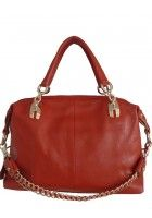 Chantalle Levesque -- Women's Leather Tote with Golden Chain (Reddish Brown) $96.95