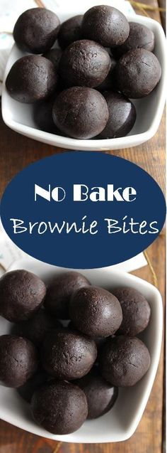 Bake Brownie Bites made with chocolate protein powder. All clean eating ingre No Bake Brownie Bites made with chocolate protein powder. All clean eating ingre. -No Bake Brownie Bites made with chocolate protein powder. All clean eating ingre. Paleo Brownies, Brownie Desserts, No Bake Brownies, Healthy Desserts, Dessert Recipes, Protein Desserts, Healthy Snack Recipes, Protein Brownies, Tasty Snacks