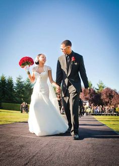 """In Brandon Roy and Tiana Bardwell were walking the halls of Garfield High School in Seattle together. Tiana was Brandon was And Destiny's Child's """"Dangerously in Love"""" from the mega-album Survivor was playing on the radio. Brandon Roy, Garfield High School, Dangerous Love, Destiny's Child, Tiana, Real Weddings, Wedding Ideas, Wedding Dresses, Fashion"""