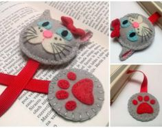 Items similar to Felt cat bookmark gray cat bookmark white cat bookmark for girls gift for cat lover back to school cat gift on Etsy Hobbies And Crafts, Diy And Crafts, Kids Crafts, Sewing Crafts, Sewing Projects, Craft Projects, Felt Bookmark, Book Markers, Felt Embroidery