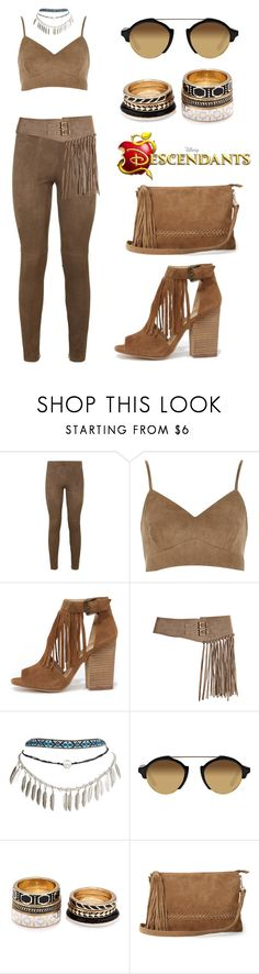 """""""Descendants inspired: Daughter of Pocahontas"""" by loveuseth ❤ liked on Polyvore featuring Elie Tahari, Chinese Laundry, Bergè, Wet Seal, Illesteva, Forever 21 and Warehouse"""