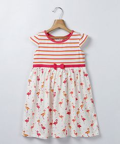 Look at this Beebay Off-White & Pink Stripe Cap-Sleeve Dress - Girls on #zulily today!