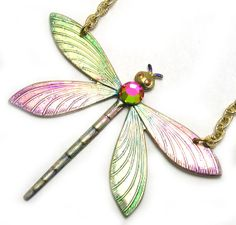 Handmade Dragonfly Pendant upcycled recycled by LizonesJewelry, $20.50