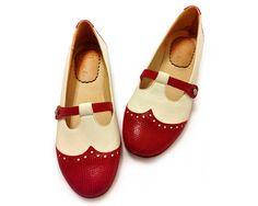 SALE Chatitas de cuero rojo y blanco por QuieroJune en Etsy