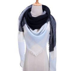 2019 new winter women scarf soft thick neck rings fashion plaid cashmere shawls wraps lady pashmina bandana blanket foulard - Silk Shawl, Pashmina Shawl, Tartan, Bandana, Triangle Scarf, Plaid Fashion, Fashion Scarves, Style Fashion, Wrap Sweater