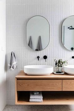 Bathroom design with white tile wall and floating vanity with open shelf ideas tile bathroom 10 Soothing Scandinavian Bathroom Ideas Spa Like Bathroom, Laundry In Bathroom, Amazing Bathrooms, Warm Bathroom, Bathroom Taps, Minimal Bathroom, Bathroom Lighting, Bathroom Pink, Laundry Rooms