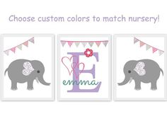elephant nursery theme, baby room artwork, elephants, monogram, personalize, purple, lavender, gray, pink, teal, bunting, set of 3, custom colors