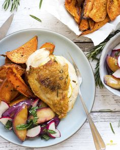 Rosemary-Roasted Chicken with Warm Nectarine Salad and Sweet Potatoes - Paleo-friendly and Gluten-free! Skip the grocery shopping and get organic ingredients and easy, healthy recipes like this delivered right to your door each week with Sun Basket. Paleo, Gluten-free and Vegetarian meal plans, plus pre-paid return shipping, so we can recycle and reuse the packaging for you!