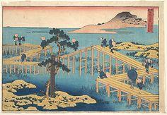 Yatsu Hashi, The Bridge of Eight Parts in the Province of Mikawa  Katsushika Hokusai  (Japanese, 1760–1849)  Period: Edo period (1615–1868) Date: ca. 1834 Culture: Japan Medium: Polychrome woodblock print; ink and color on paper