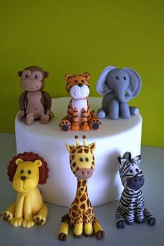 Safari cake toppers fondant safari animal cake giraffe topper elephant topper zebra topper lion topper tiger topper monkey topper My online store fondant cake toppers Fondant Toppers, Fondant Cakes, Cupcake Toppers, Fondant Figures, Fimo Kawaii, Jungle Cake, Zoo Cake, Safari Cakes, Safari Animals