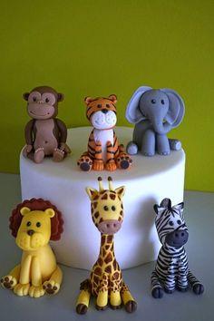 Safari animals fondant cake topper, elephant giraffe zebra lion tiger monkey
