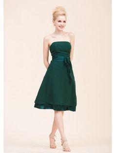 A-Line Strapless Knee-Length Dark Green Chiffon Bridesmaid Dresses