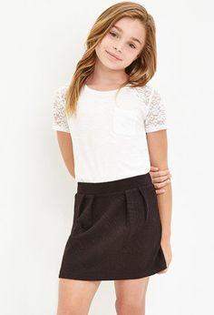 Girls Pleated Geo Matelassé Skirt (Kids) | Forever 21 girls - 2000179193